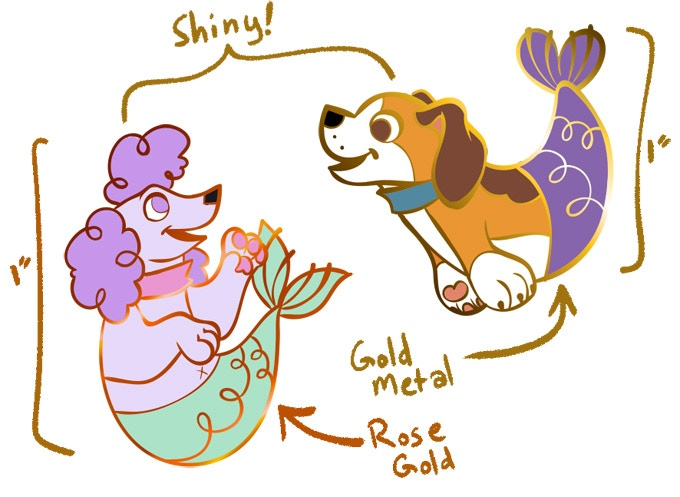 """1"""" rose gold and gold hard enamel pins!"""