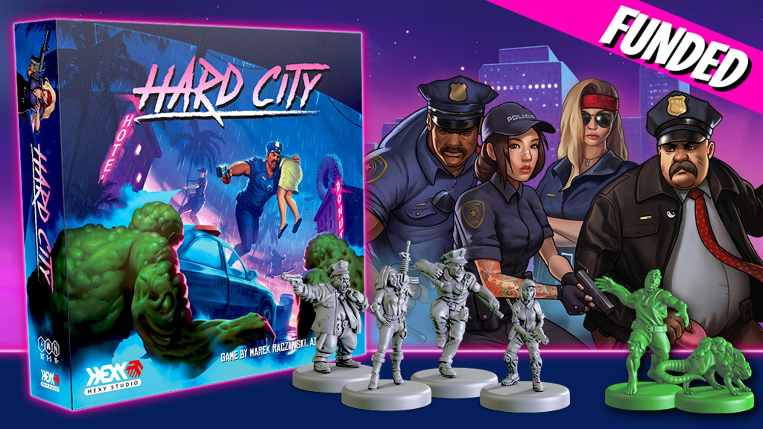 A game of adventure and tactics in an 80s-inspired new retro setting. Brave Police Officers versus evil Doctor Zero and his mutants.