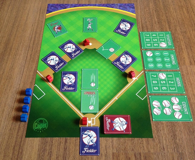 TOBG Ball Park with cards & meeples