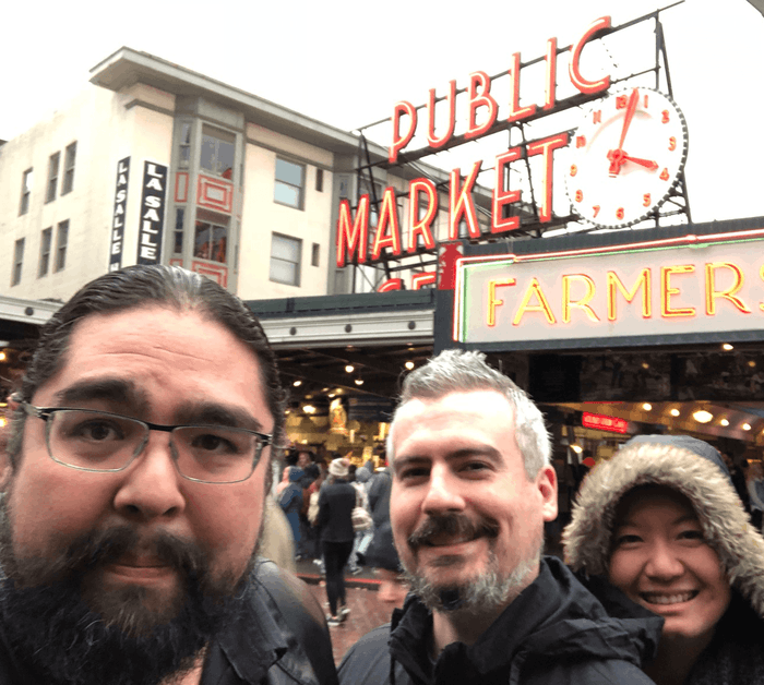 Mark and his wife Yuli at Pike Place Market