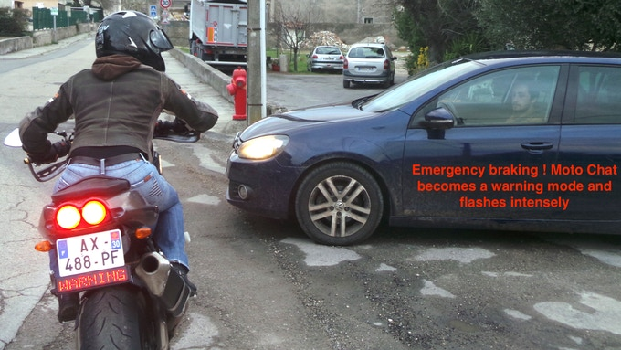 YOU WILL ALSO BE MUCH MORE VISIBLE WHEN YOU BRAKE, SO YOU WON'T GET RAMMED IN THE ASS ... IN CASE OF EMERGENCY BRAKING , IT WILL AUTOMATICALLY BLINK .