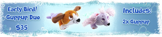 Includes ANY unlocked Grrmaid Guppup! (A tortle can be substituted for either plush)