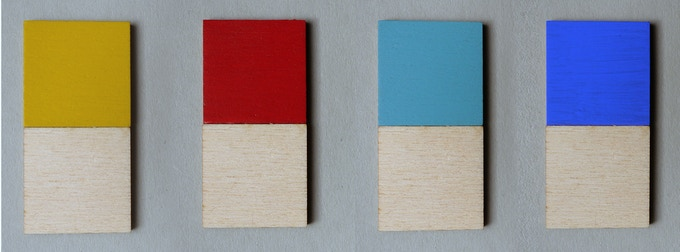 Poplar with Yellow, Red, Turquoise and Cobalt Blue.