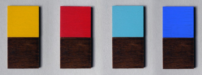 Dark Walnut with Yellow, Red, Turquoise and Cobalt Blue