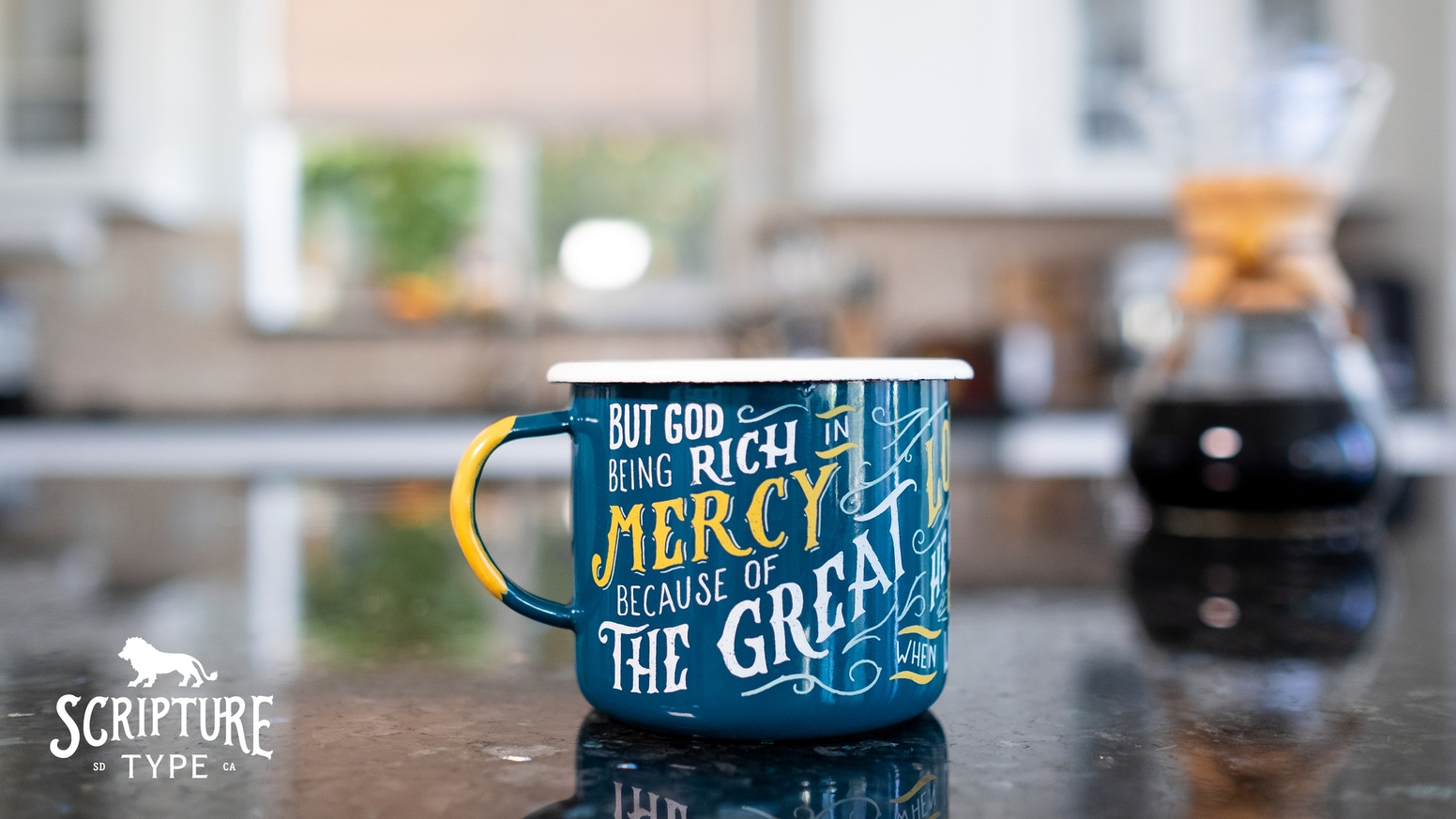 Remind yourself of the Gospel daily with this enamel camp mug that is made to bring along wherever life's adventures take you.