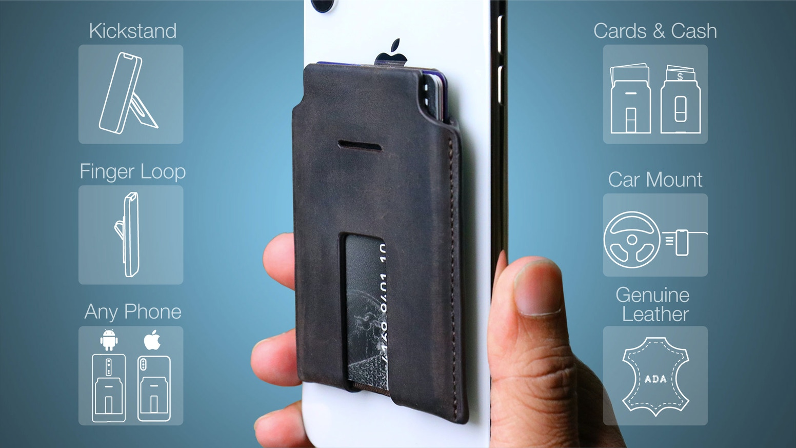 Your phone and wallet become one. Magnetically attaches, kickstands, and mounts to your car.