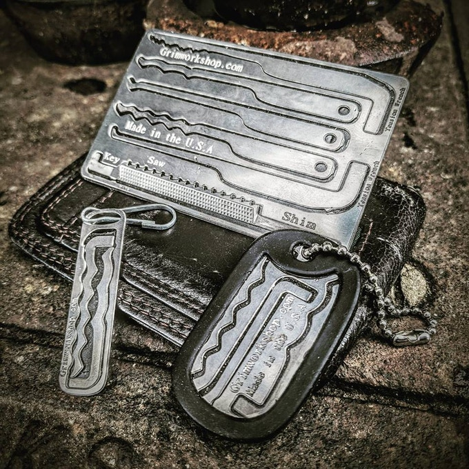 The Grim Workshop EDC Wearable Lock Pick Kit. Our Credit Card, Dog Tag, and Micro sized tool kits.