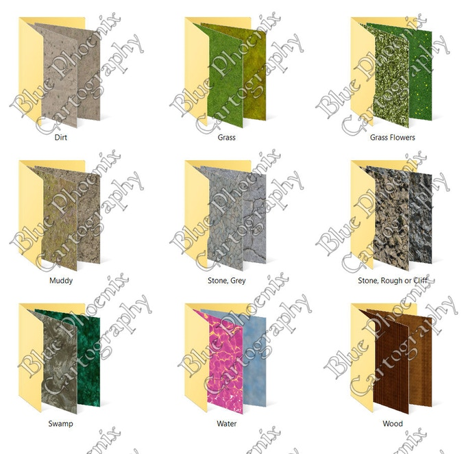 pack 1 textures: Dirt, Grass, Grass with Flowers, Muddy, Grey Stone, Rough Stone, Swamp, Water, and Wood.