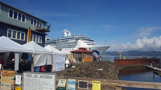 Island Princess in Port in Astoria, OR