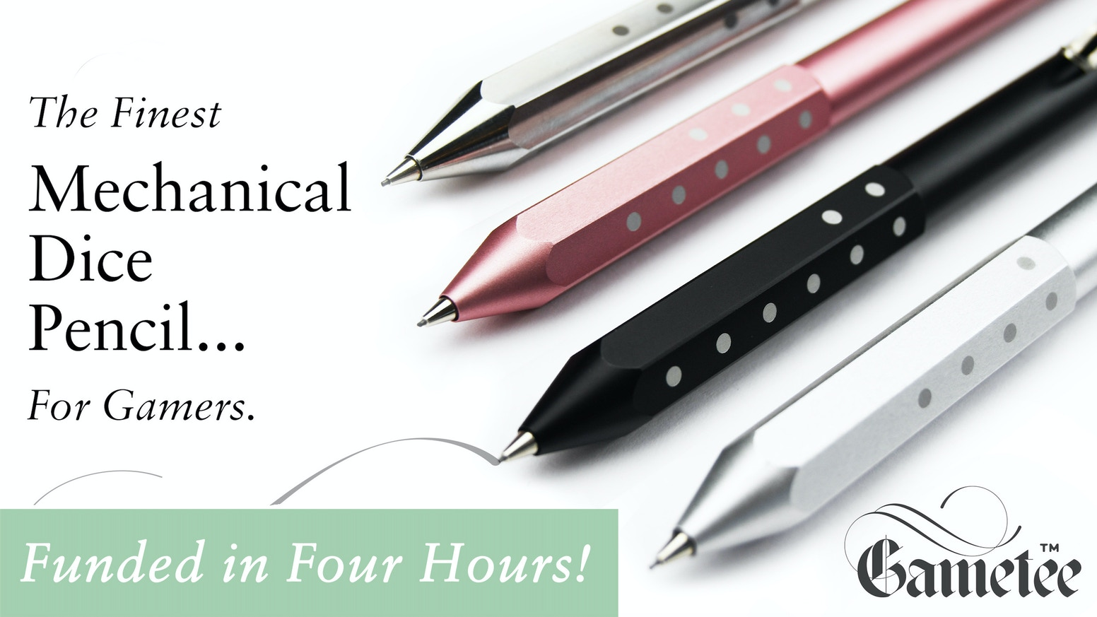 Finely Crafted Mechanical Dice Pencils in Aluminium and Titanium - Roll them as a Dice - The Only Pencils of their Type in the World!