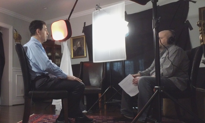 Historian Martin Dean is interviewed by director Justin Kenny. Washington, DC (March 2018) Photo by Justin Kenny.