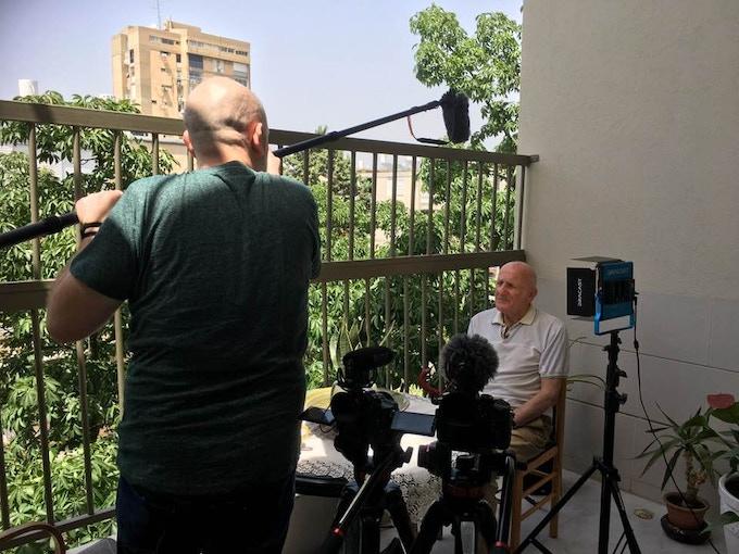 Director Justin Kenny and Nathan Bobrov during interview at Bobrov's home. Tel Aviv, Israel (May 2018) Photo by Jennifer Knoll.