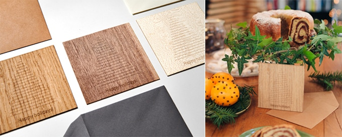 Greetings cards come in oak, walnut or maple veneer