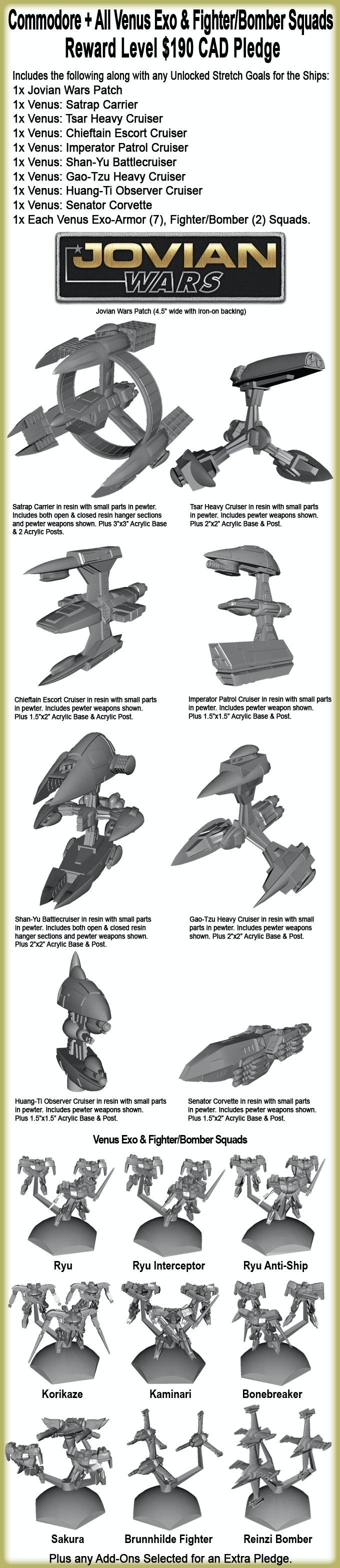 Commodore + All Venus Exo & Fighter/Bomber Squads Reward Level.