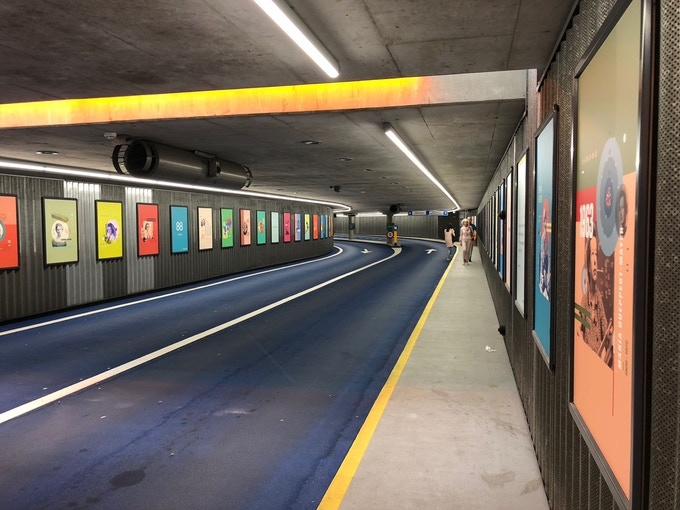 A whole highway tunnel dedicated to women in STEM, lined with the Beyond Curie portraits
