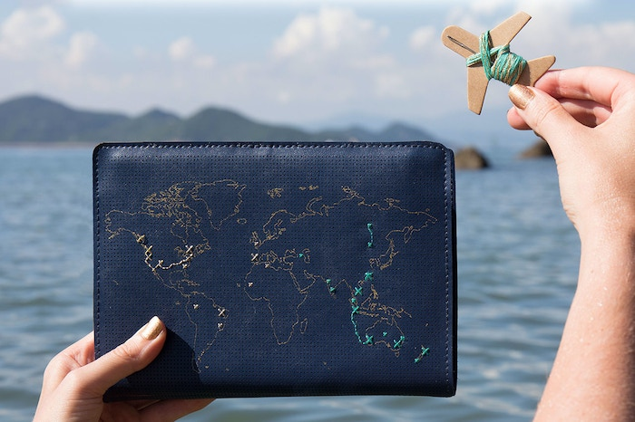 This stitchable leather travel journal with world map design can be sewn to record your travels! Mark everywhere you've been in thread.