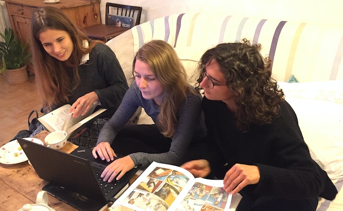 Volunteers: Nina, Anne and Angie working on the German translation