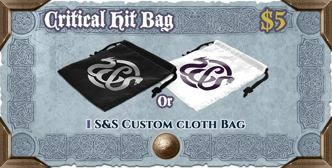 Carry your critical hit tokens, dice, or anything else with style! Choose the color you prefer (Underreign black or Northwind white) - or both!