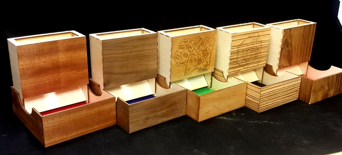 Left to Right = Mahogany, Walnut, Cherry, Zebrawood, Teak