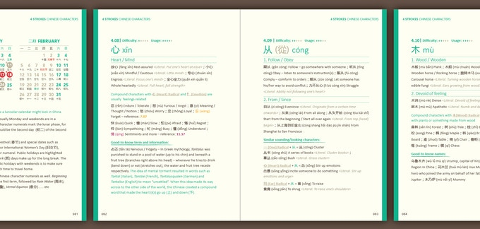 In a portable handbook of vocabularies, these selected Chinese characters are unravelled