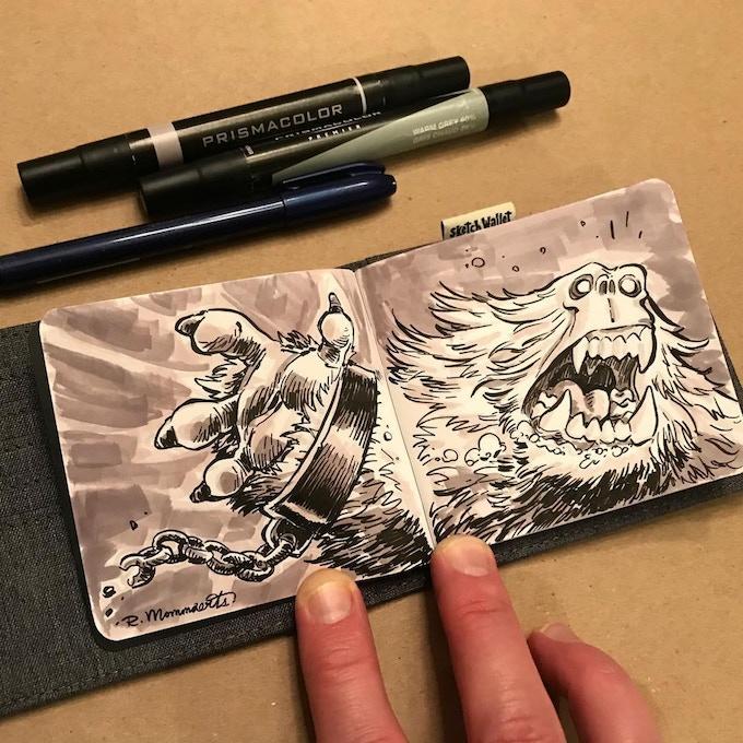 Medium Sketch Wallet drawing by @robbmommaerts