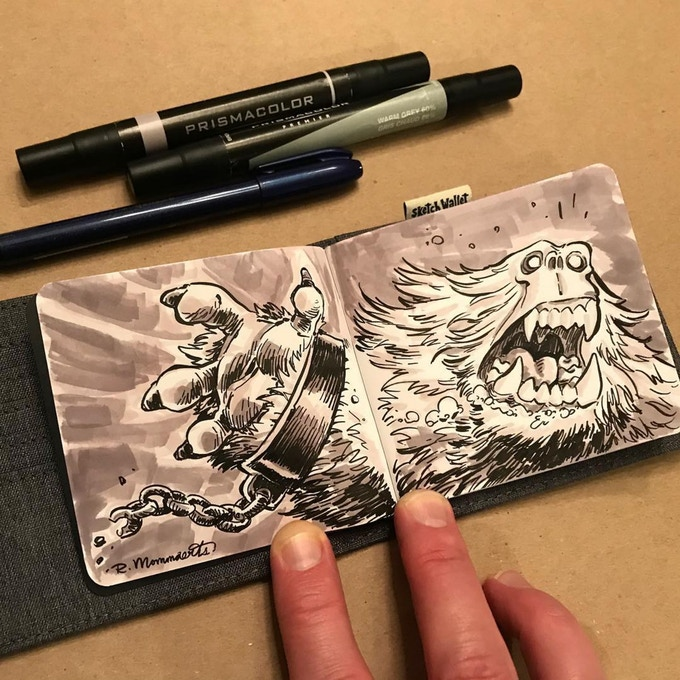 Medium Sketch Wallet drawing by @robbmommaerts