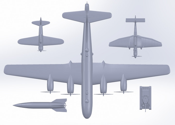 For those of you looking for something truly gigantic...The B-29 Superfortress has a wingspan of 77 cm (30 inches) at 1/56 scale.