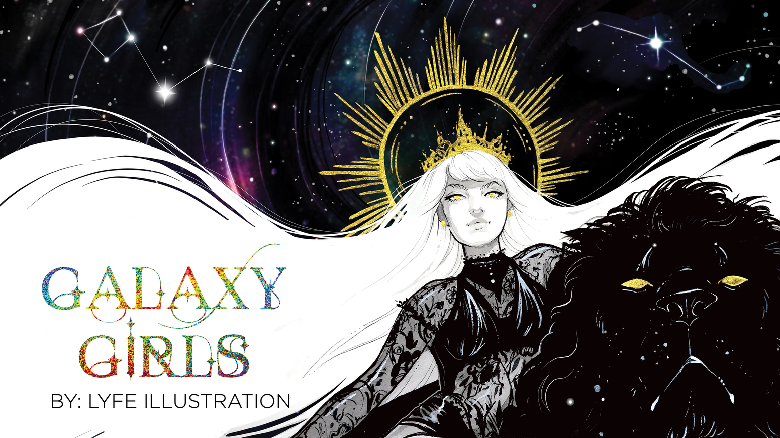 A beautifully detailed art book filled with 31 astrology and constellation based art work by Lyfe Illustration