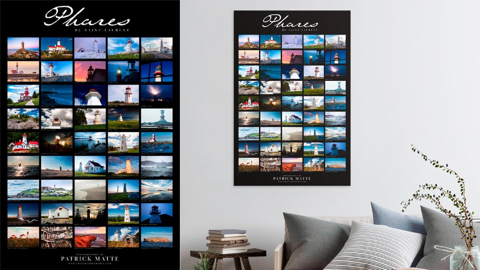 Une affiche regroupant les photographies des 45 phares de l'estuaire et du golfe du Saint-Laurent par le photographe Patrick Matte.