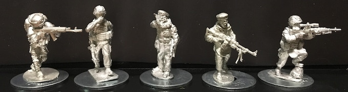 so from left to right: Ultracombat Russian, Empress, Tiny Terrain Models, Sangin Taliban and Eureka miniatures