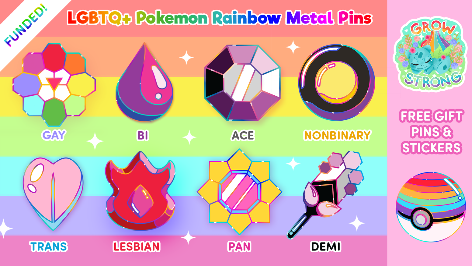 6f653dbeafe Calling all LGBTQ+ Pokemon trainers! Display your pride with these Gym  Badge enamel pins and