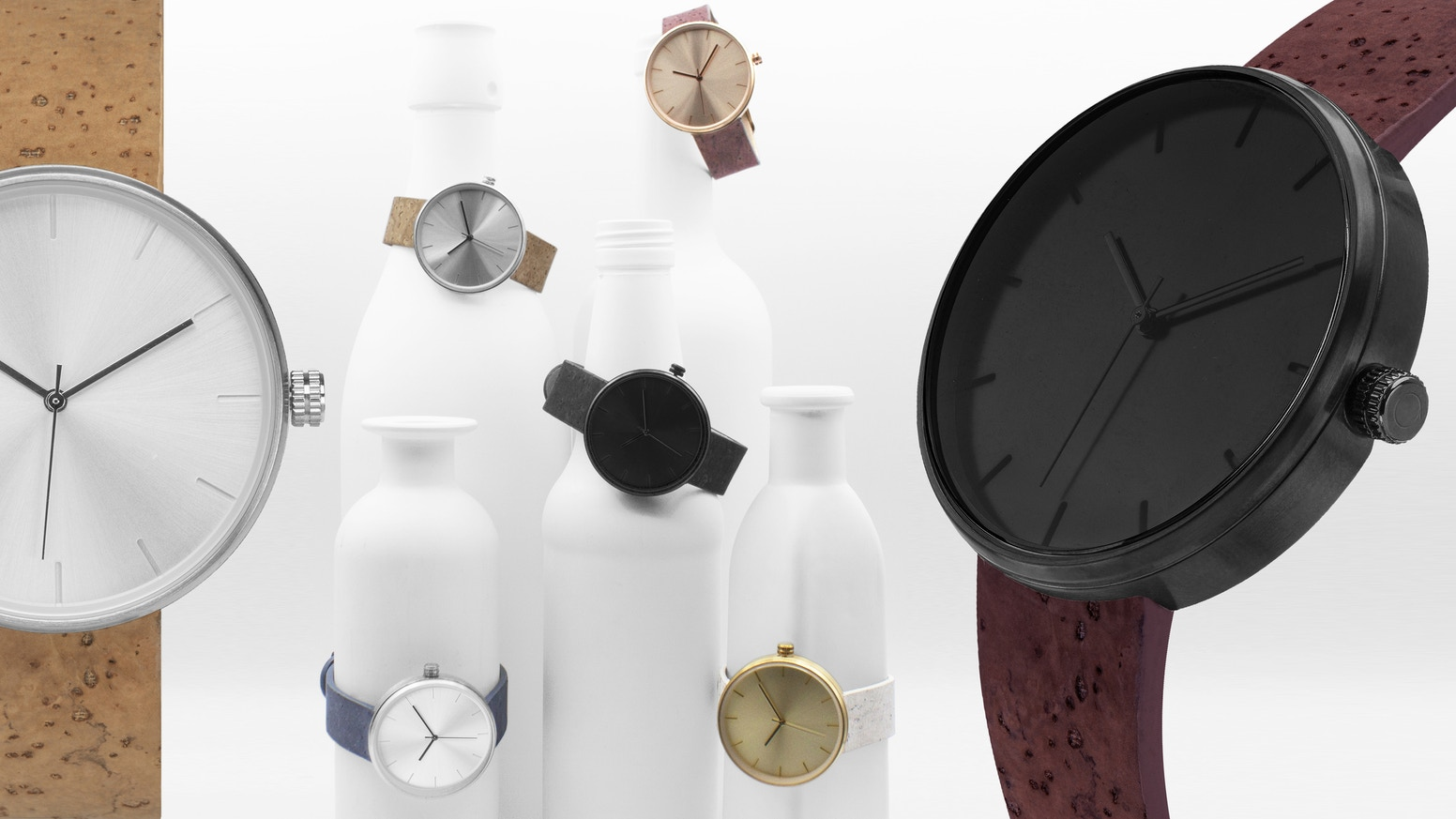 A timepiece featuring cork bands dyed with real wine. This watch makes for a great gift + We'll plant a sustainable cork tree!