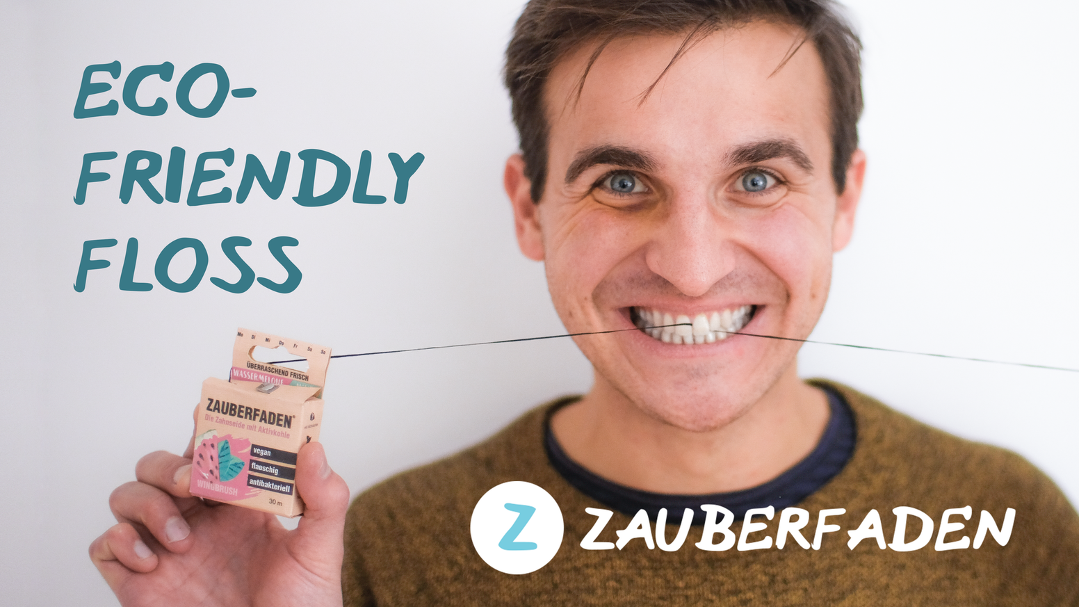 Zauberfaden is a vegan floss in a biodegradable packaging - made with charcoal and xylitol for high cleaning power