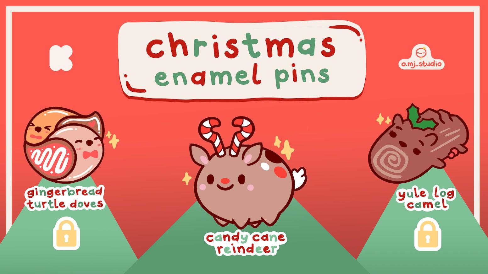 Cute Christmas.Enamel Pins Cute Christmas Food Animals By O Mj Studio