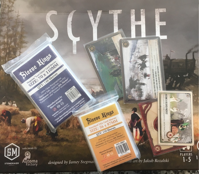 Standard Sleeves work for TONS of Games including Scythe!