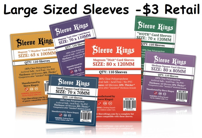 These HUGE sleeves are great for sleeving big cards with amazing art like Dixit or 7th Continent!  Note these will cost you a small per-pack surcharge with your reward unless you are ordering at the highest pledge level.
