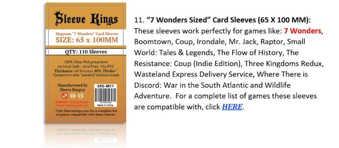 Sleeve Kings 60 Micron Standard Card Sleeves for Board Games
