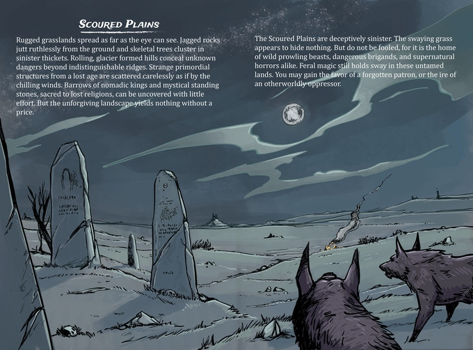 Scoured Plains illustration two-page spread.