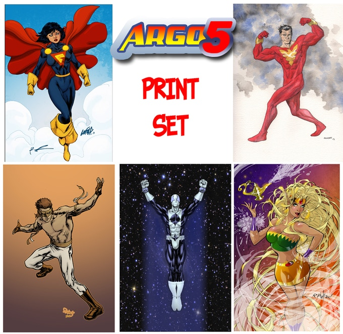 A set of 5 prints featuring Gladiatra by Rob Liefeld, Shazrath by Mike McKone, Chain Reaction by Tom Raney, Blue Dynamo by Ibrain Roberson and Kasira by Franchesco!