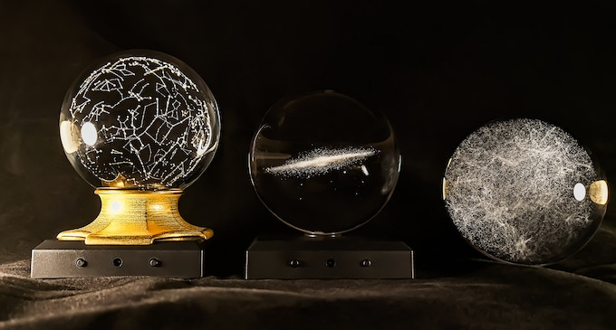 "The Star Constellations with an LED Baseplate + Golden Steel ""LED Fitting Base"", The Milky Way Sphere with the LED Baseplate and the Universe Sphere"