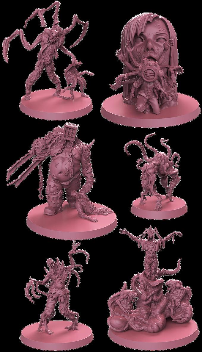 3D renders of the visage figures.