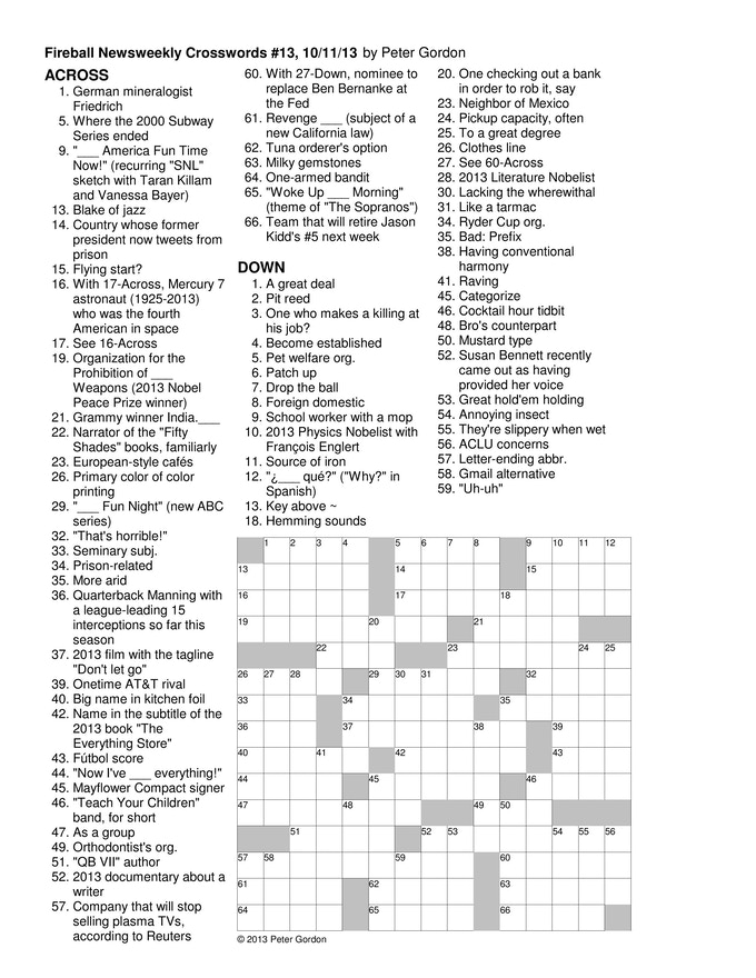 Sample puzzle from October 11, 2013