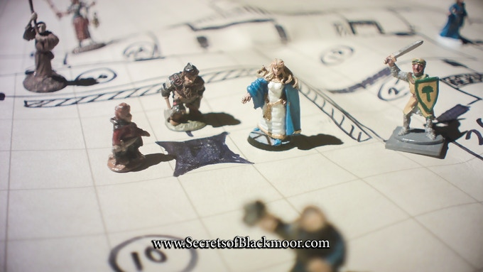 Dave Arneson's own miniatures on his map of the Comeback Inn