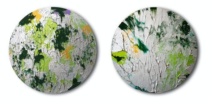 Twin Abstract Silver/Forest Green Paintings by Elika