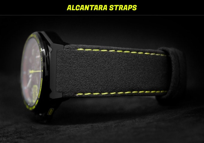 Alcantara strap is made of genuine material and is offered as an upgrade feature