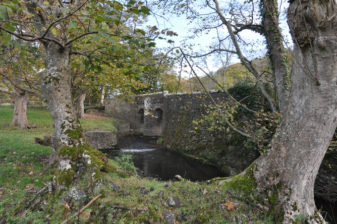 The stone bridge at Hartland Abbey