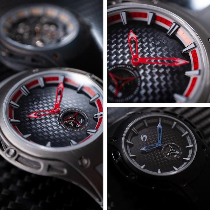 Flat silver and black carbon fiber dials