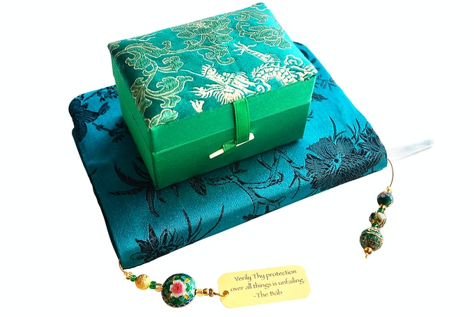 Silk Prayer book cover + Cloisonne beaded bookmark with inspiring quote from The Báb packaged in green silk box