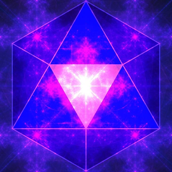 "Purple Logo on Fractal Image ""God's Forehead Ornament"" by Douglas James"