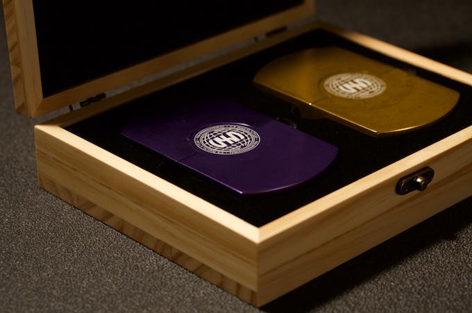ULTRAVIOLET METAL & GOLD METAL CASES IN CUSTOM 'VXD' BRANDED WOODEN DISPLAY BOX